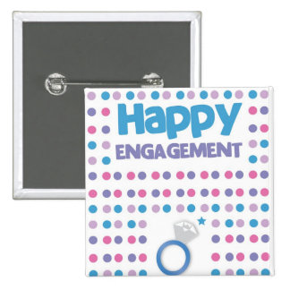 Spotty Happy Engagement greeting card Button