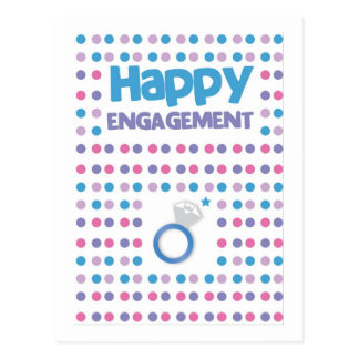 Spotty Happy Engagement greeting card Postcard