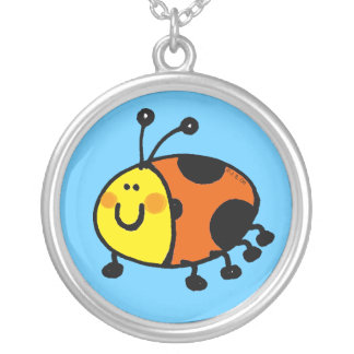 Spotty ladybug round pendant necklace