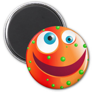 Spotty Red Smilie 2 Inch Round Magnet