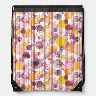 Spotty Striped White Pattern Drawstring Bag