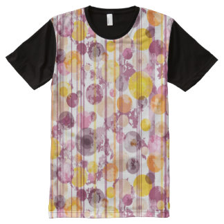 Spotty Striped White Pattern All-Over Print T-shirt