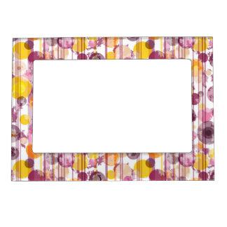 Spotty Striped White Pattern Magnetic Photo Frame