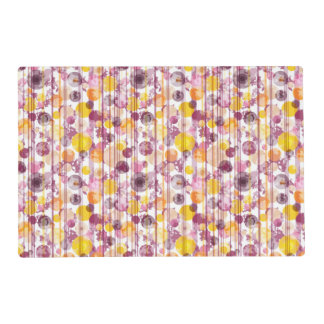 Spotty Striped White Pattern Laminated Placemat