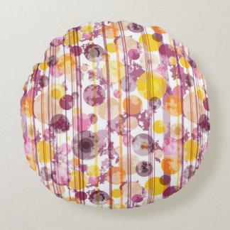 Spotty Striped White Pattern Round Pillow