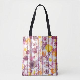 Spotty Striped White Pattern Tote Bag