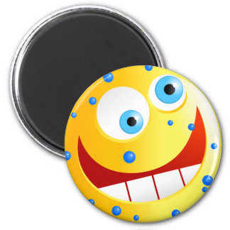 Spotty Yellow Smilie 2 Inch Round Magnet