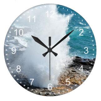 Spouting Horn in Kauai, Hawaii Large Clock