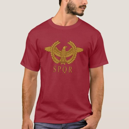 SPQR Eagle Laurel Gold Dark T_Shirt