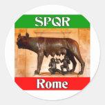 SPQR Roma Etiqueta Redonda