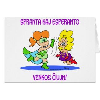 spranta kaj esperanto venkos chiujn cxujn ciujn card
