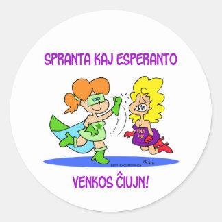 spranta kaj esperanto venkos chiujn cxujn ciujn classic round sticker