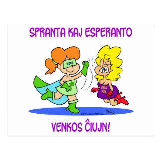 spranta kaj esperanto venkos chiujn cxujn ciujn postcard