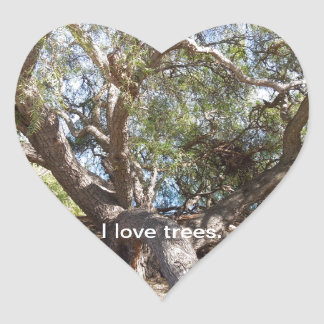 Sprawling Tree Near Santa Barbara on Coast Heart Sticker
