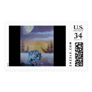 Spray art of Wolf in sunset Postage