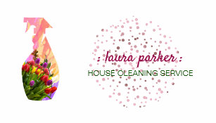 House cleaning business cards templates zazzle spray bottle floral cleaning service garden business card colourmoves