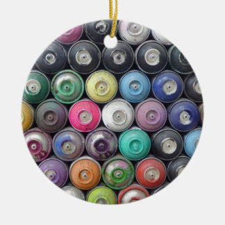 Spray cans ceramic ornament