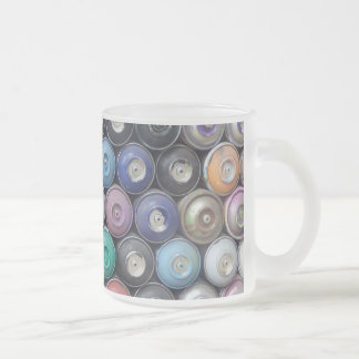 Spray cans frosted glass coffee mug