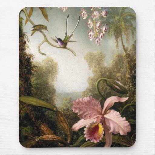 Spray Orchids with Hummingbird Mouse Pad
