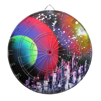 Spray Paint Art City Space Landscape Painting Dartboard With Darts
