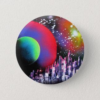 Spray Paint Art City Space Landscape Painting Pinback Button