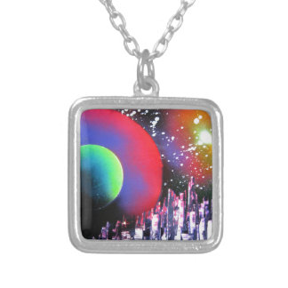 Spray Paint Art City Space Landscape Painting Silver Plated Necklace