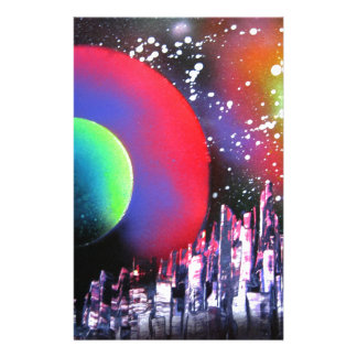 Spray Paint Art City Space Landscape Painting Stationery