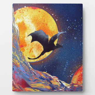 Spray Paint Art Fantasy Dragon Outer Space Plaque