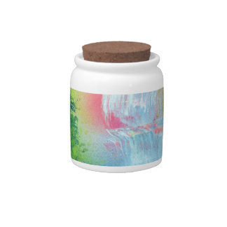 Spray Paint Art Forest Waterfall Sunset Painting Candy Jar