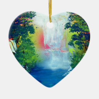 Spray Paint Art Forest Waterfall Sunset Painting Ceramic Ornament