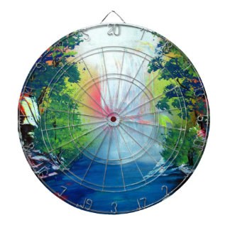 Spray Paint Art Forest Waterfall Sunset Painting Dartboard With Darts