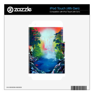 Spray Paint Art Forest Waterfall Sunset Painting Decal For iPod Touch 4G