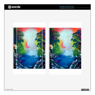 Spray Paint Art Forest Waterfall Sunset Painting Kindle Fire Skin