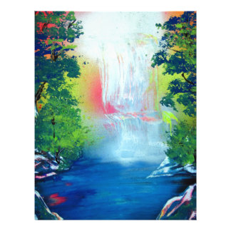 Spray Paint Art Forest Waterfall Sunset Painting Letterhead