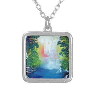 Spray Paint Art Forest Waterfall Sunset Painting Silver Plated Necklace