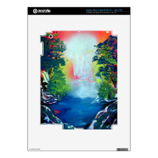 Spray Paint Art Forest Waterfall Sunset Painting Skin For iPad 3