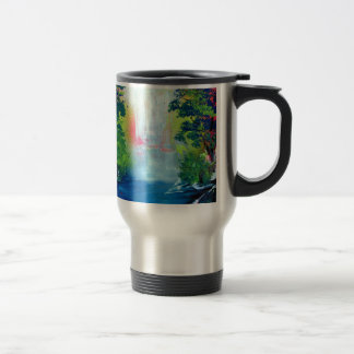 Spray Paint Art Forest Waterfall Sunset Painting Travel Mug