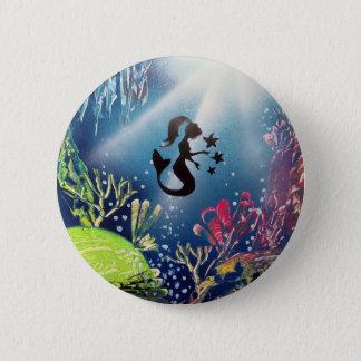 Spray Paint Art Mermaid in Ocean Pinback Button