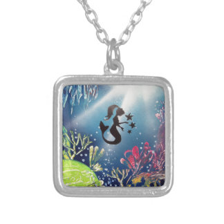Spray Paint Art Mermaid in Ocean Silver Plated Necklace