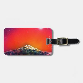 Spray Paint Art Mountain Pond Sunset Painting Bag Tag