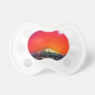 Spray Paint Art Mountain Pond Sunset Painting Pacifier