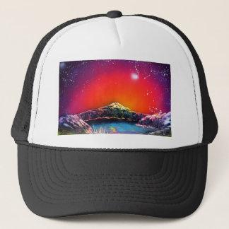 Spray Paint Art Mountain Pond Sunset Painting Trucker Hat
