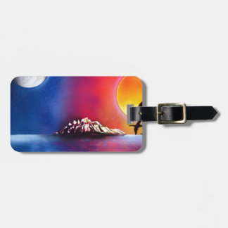 Spray Paint Art Night and Day Ocean Painting Bag Tag