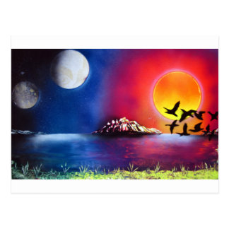 Spray Paint Art Night and Day Ocean Painting Postcard