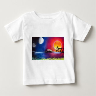 Spray Paint Art Night and Day Ocean Painting Tee Shirt