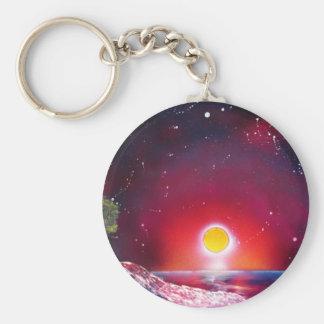 Spray Paint Art Ocean Sunset Landscape Painting Basic Round Button Keychain