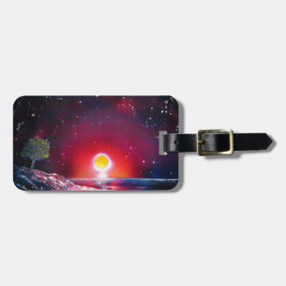 Spray Paint Art Ocean Sunset Landscape Painting Luggage Tag