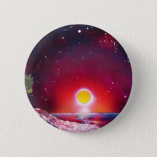 Spray Paint Art Ocean Sunset Landscape Painting Pinback Button