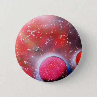 Spray Paint Art Outer Space Planets Scene Button