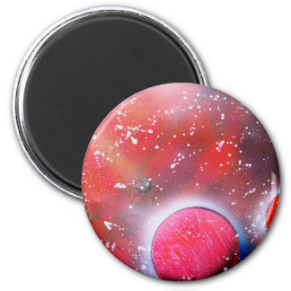 Spray Paint Art Outer Space Planets Scene Magnet